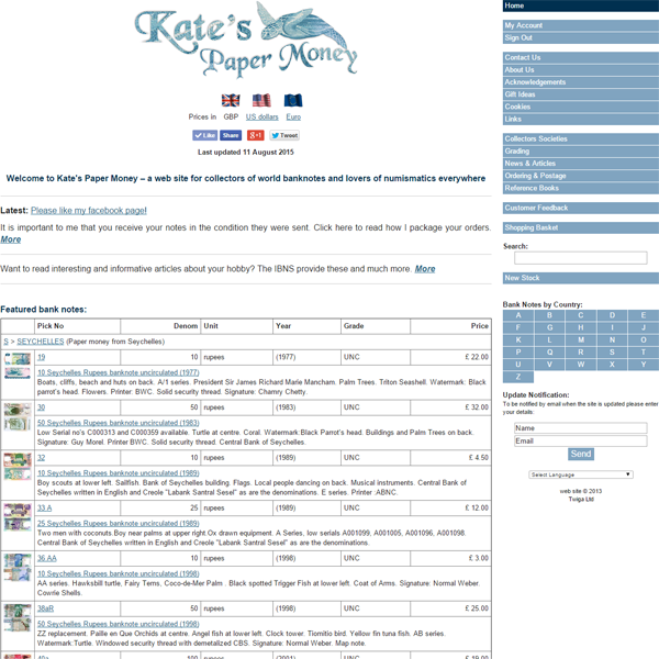 Kate's Paper Money ecommerce web site
